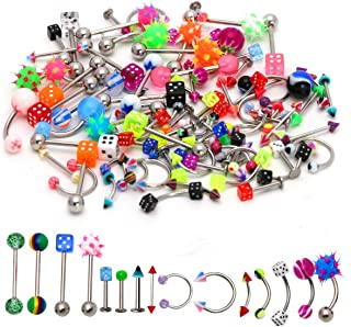 CrazyPiercing Lot of 110PCS Body Jewelry Piercing Eyebrow Navel Belly Tongue Lip Bar Ring