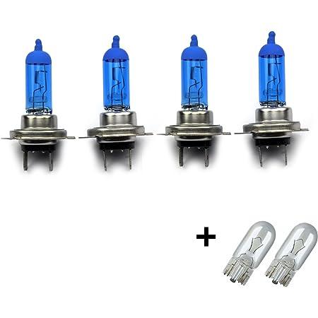 Inion Set 4x Stück H7 55w Px26d 12v Uv Kristallglas Mit Gas Xenon Optik Halogen Lampen Long Life Birnen Super White 2x T10 Glassockellampen Autolampen Auto