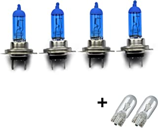 INION® SET  4x Stück H7 55W PX26D 12V UV Kristallglas mit GAS   XENON OPTIK Halogen Lampen Long Life Birnen Super White + 2x T10 Glassockellampen Autolampen
