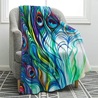 Jekeno Peacock Feather Blanket Colorful Print Throw Blanket Couch Bed Sofa Travelling for Women Adults Gift 50x60