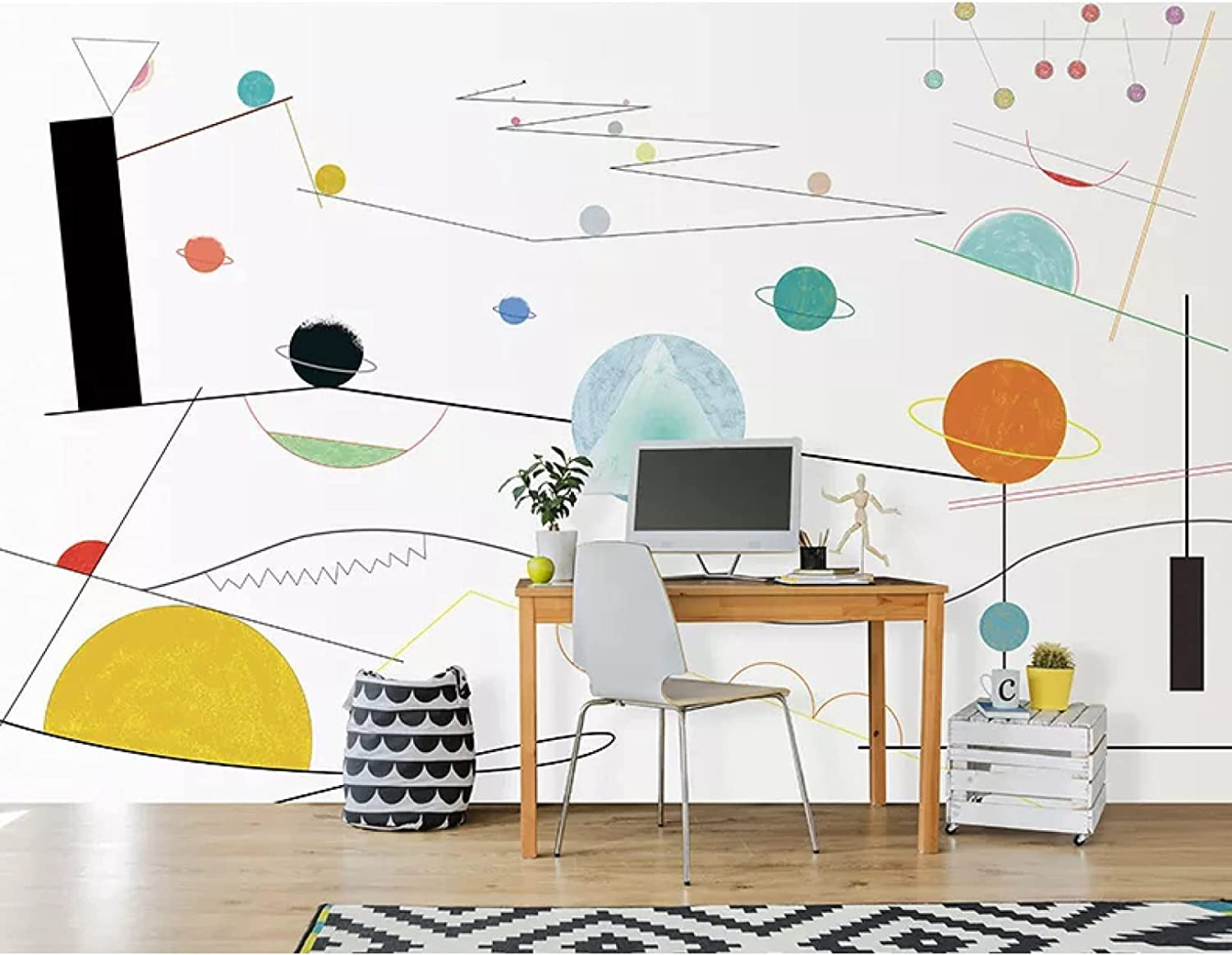 Abstract Planet Wall Stickers Purchase Mural Courier shipping free Room 3D for Living Kids