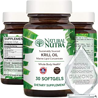 Natural Nutra Krill Oil 500mg with Astaxanthin, Omega 3 Fatty Acids, Cognitive Health, Joint Health, Pure A...
