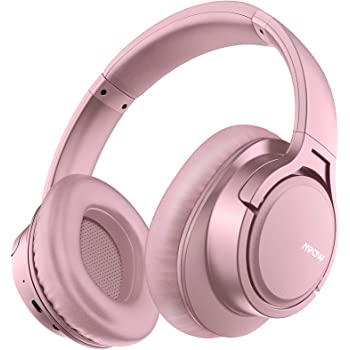 Mpow H7 Bluetooth Headphones Over Ear, Comfortable Wireless Headphones, Rechargeable HiFi Stereo Headset, w/Wired Mode, CVC6.0 Microphone for Cellphone Online Class, Home Office, PC, Pink