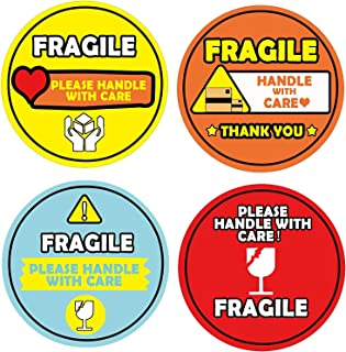 Fragile Shipping Sticker Please Handle with Care Label,4 Bright Colors Adhesive Warning Labels for Shipping or Packing,2 I...