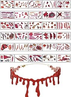 30 Sheet Halloween Scars Tattoos Stickers Simulation Wound Bleeding Scar Blood Tattoos Stickers,1 Pcs Halloween Blood Chok...