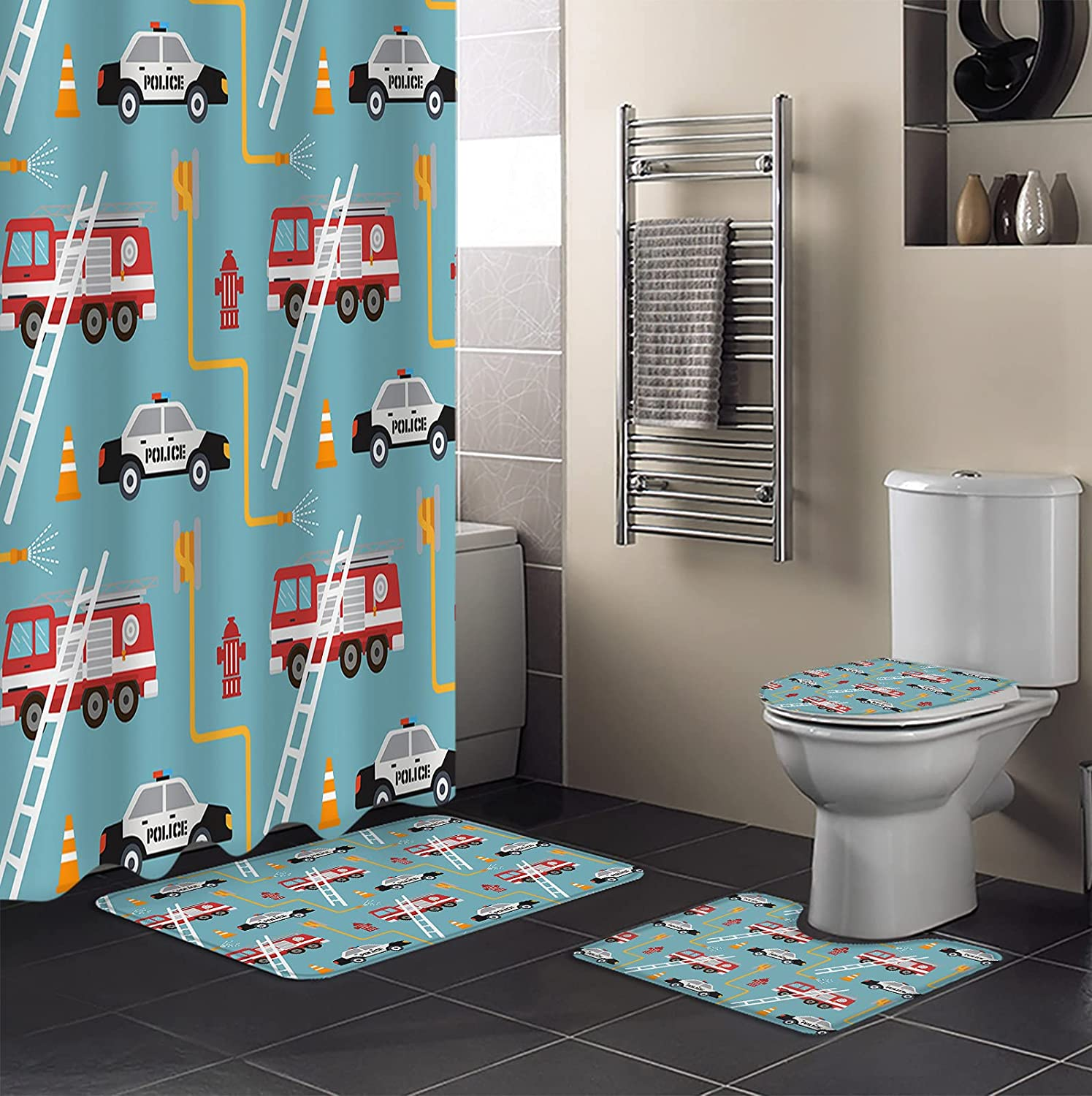 4 PCS Shower Curtain Sets Waterproof depot 67% OFF of fixed price Bathroom with Non-Sli