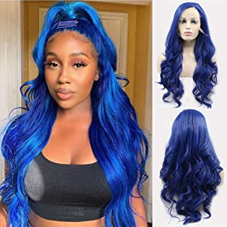 Karissa Hair Dark Blue Synthetic Lace Front Wigs for Women Side Part Long Curly Wave Lace Wig with Baby Hair Blue Hair Wigs for Girl Daily Wear 24inch
