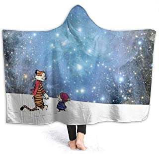 Calvin and Hobbes Friends Hooded Blanket, Soft Throw Wrap Wearable Blankets Novelty Cape for Kids Adults Teens