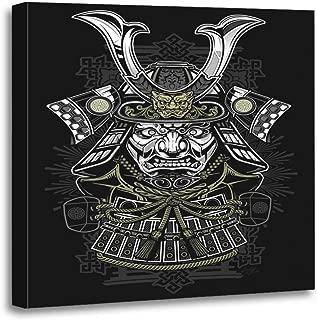 Semtomn Canvas Wall Art Print Tattoo Samurai Japanese Japan Ninja Mask Helmet Demon Warrior Artwork for Home Decor 20 x 20 Inches