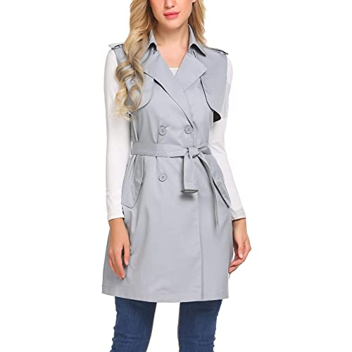 155689d8fa77ba Mofavor Women s Long Sleeveless Trench Coat Double Breasted Vest Blazer  Jacket with Belt S-XXL