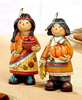 ginsengstone Thanksgiving Native American Couples Figurines Fall Harvest Seasonal Home Decor