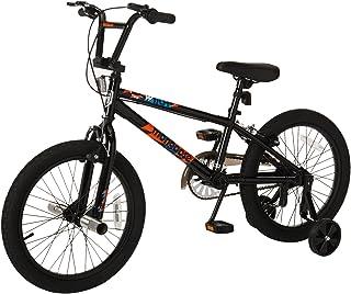 Mongoose Switch bicicleta BMX para niños, con marco de acero pequeño de 12 pulgadas, frenos de mano delanteros y traseros con freno de posavasos trasero y ruedas de 18 pulgadas, ruedas de entrenamiento extraíbles incluidas, color negro