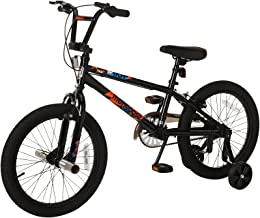 Mongoose Switch Children's BMX Sidewalk Bike, Featuring 12-Inch/Small Steel Frame, Front and Rear Handbrakes with Rear Coaster Brake, and 18-Inch Wheels, Removable Training Wheels Included, Black