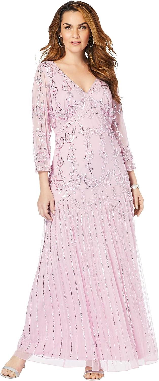 Roamans Women's Plus Size Beaded Dress Formal Evening
