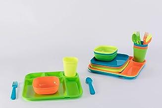 طقم ادوات مائدة بلاستيكية من بلاس كيدي للاطفال، مكون من 36 قطعة واكواب واطباق واوعية قابلة لاعادة الاستخدام في الميكروويف ...