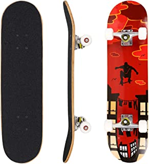 """Hikole Skateboard - 31"""" x 8"""" Complete PRO Skateboard - Double Kick 7 Layer Canadian Maple Wood Adult Tricks Skate Board for Beginner, Birthday Gift for Kids Boys Girls 5 Up Years Old"""