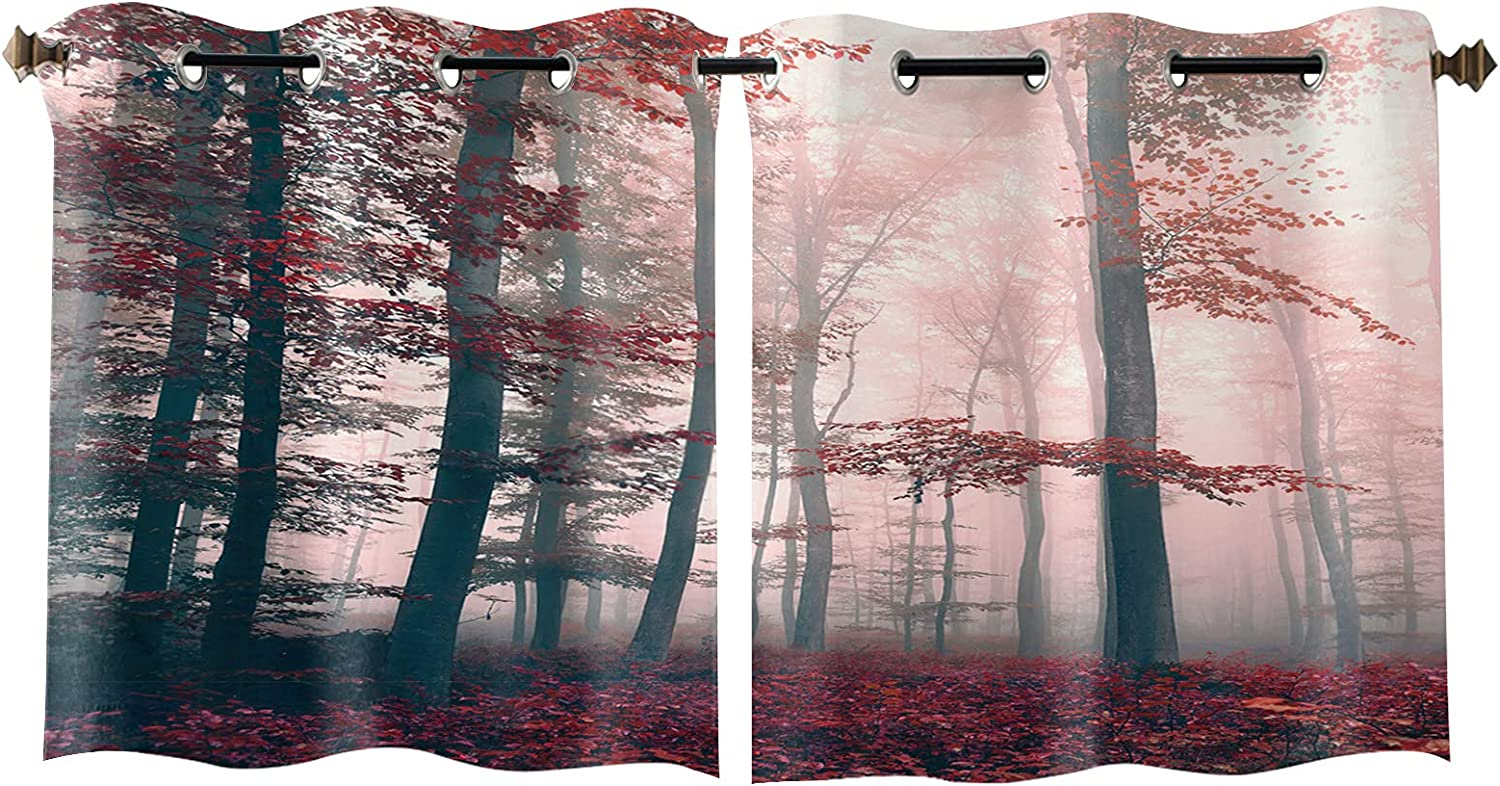 Max 66% OFF Window Curtain Drapes 2 Baltimore Mall Panels Nature Forest Enchanted Set Woods