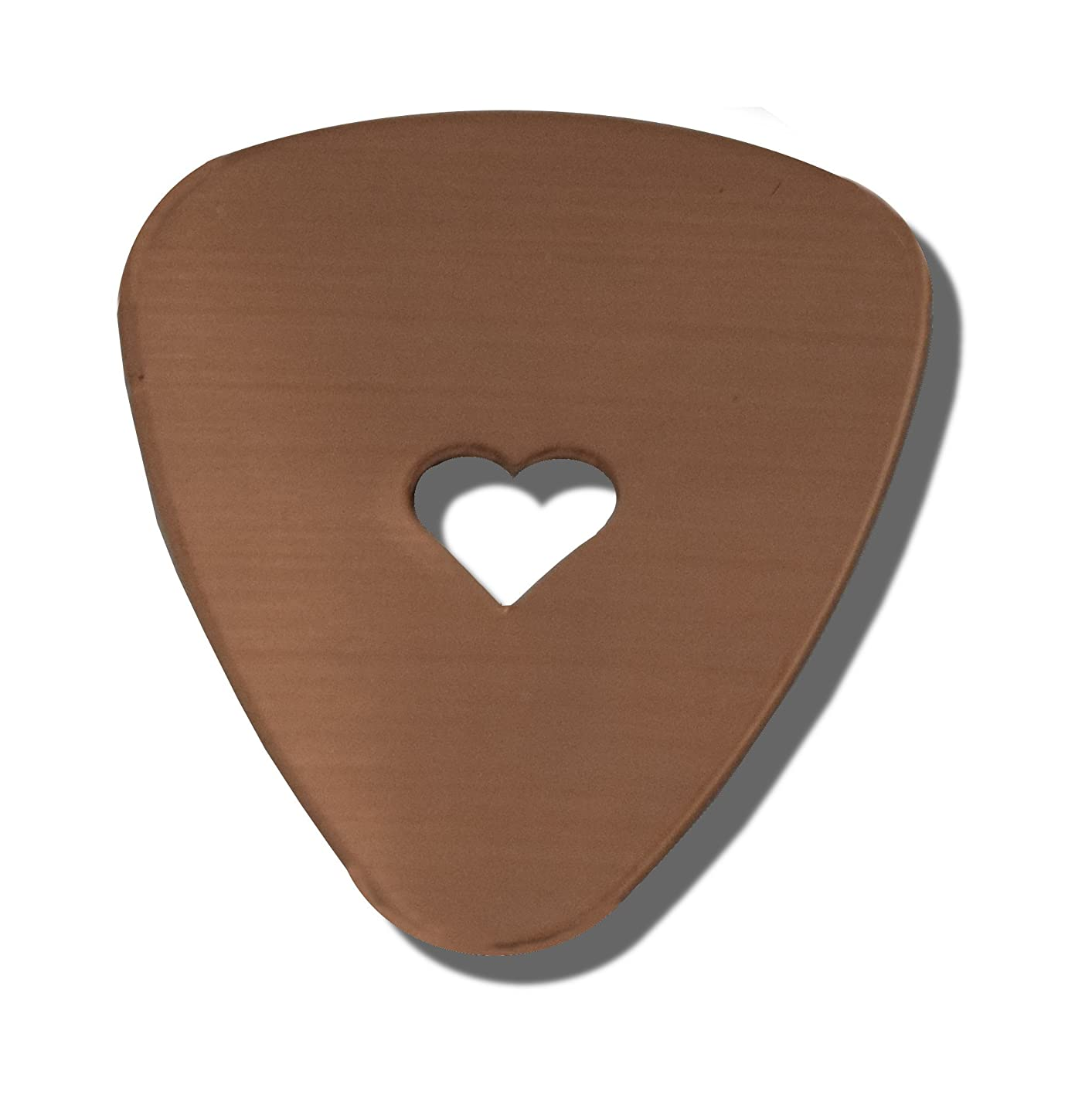 RMP Stamping Blanks, Guitar Pick With 1/4 Inch Heart Center Cutout, 16 Oz. Copper, 24 Gauge - 10 Pack