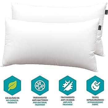 DHestia Hostelería - Almohada Núcleo de Fibra Hueca Siliconada y Funda de 100% Microfibra (Pack 2 uds 75 cm): Amazon.es: Hogar