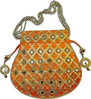Ruchit Handicraft Women's Rajasthani Style Silk Potli Gota Patti Handbag, Potlis Drawstring Hand-Carry Valentine Gift (Ora...