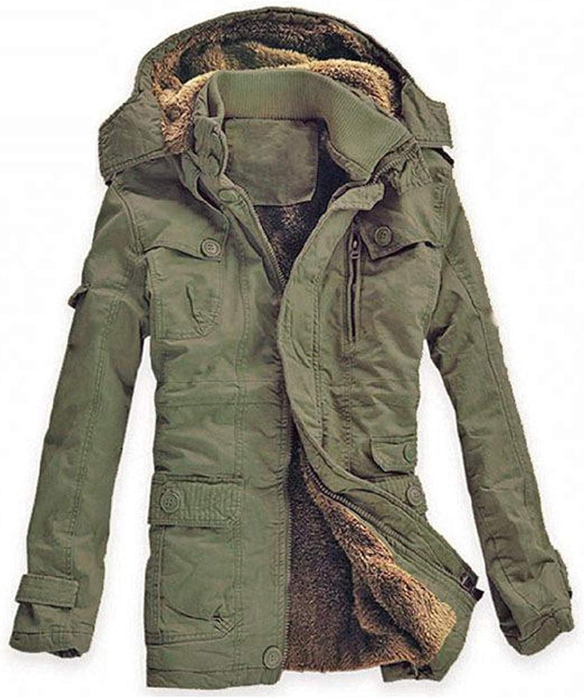 Tealun Winter Jacket Men Outwear Breathable Warm Thickening Casual Cotton-Padded Jacket Fleece Parkas