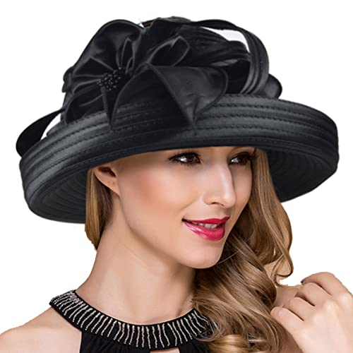 7fda54d401a Lady Church Derby Dress Cloche Hat Fascinator Floral Tea Party Wedding  Bucket Hat S051