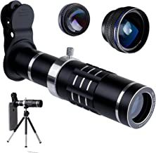 Telephoto Lens for Smartphone - Mobile Camera Kit with 18X Telephoto, Wide Angle and Macro Lenses 3 in 1 - Universal Clip Attachment for iPhone 7 8 Plus & Android Cell Phone (18X)