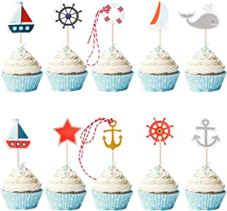 72 Pieces Nautical Cupcake Toppers for Ocean Sailing Theme Party Pirate Ship Whale Sailboat Ocean Sailing Yacht Boat for Birthday Party Baby Shower Wedding Party Decorations