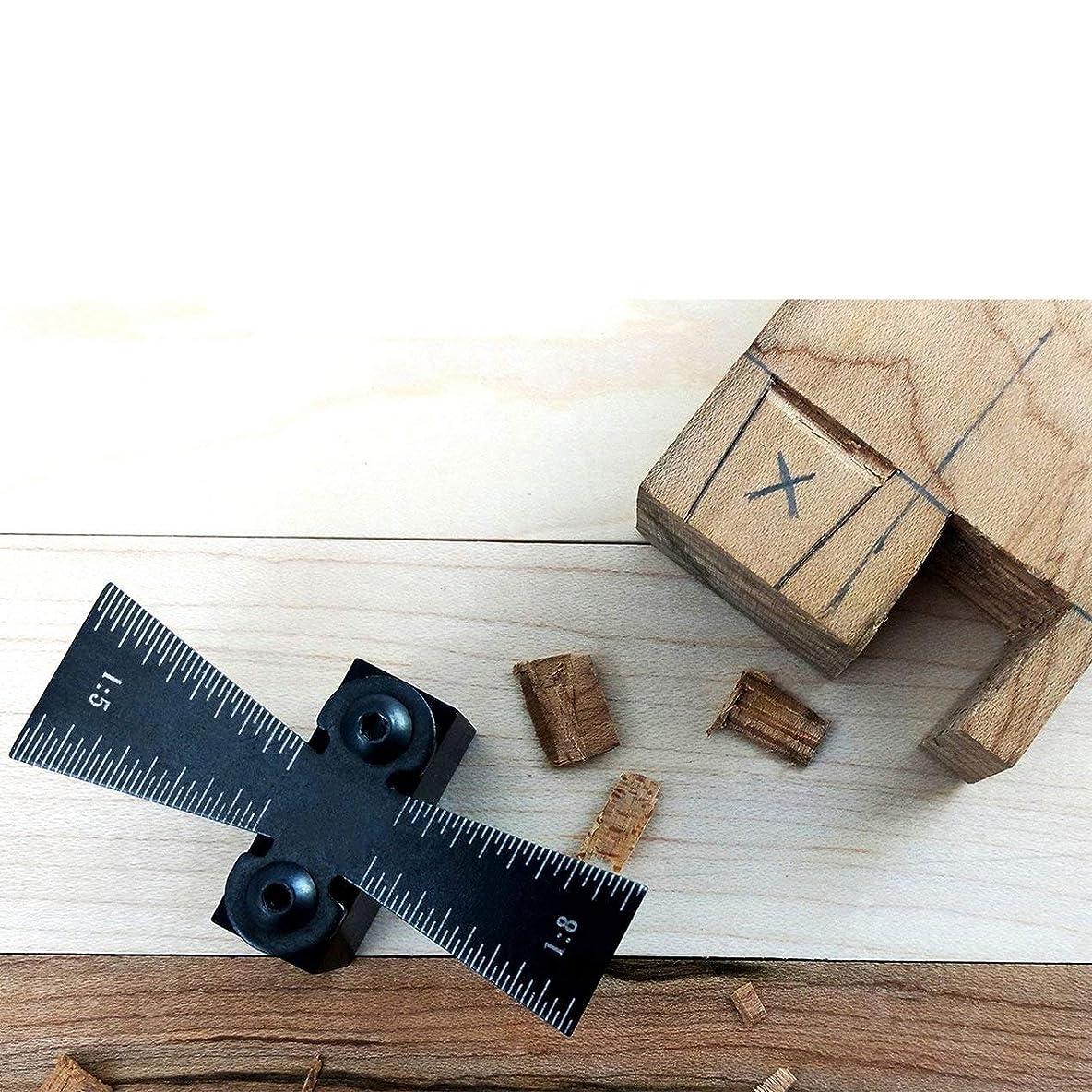 注目すべき靴め言葉ダブテールマーカーアルミニウム合金木工ジョイントゲージダブテールスクライビングゲージガイドロケーターツール1:5/1:8ダブテールテンプレート(色:黒)