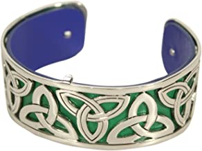 Biddy Murphy Trinity Knot Bangle Rhodium Plated Reversible Leather Strap Made in Ireland