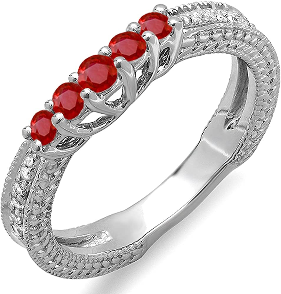 Dazzlingrock Collection 10K Round Ruby And White Diamond Ladies Anniversary Wedding Band Guard Enhancer Ring, White Gold