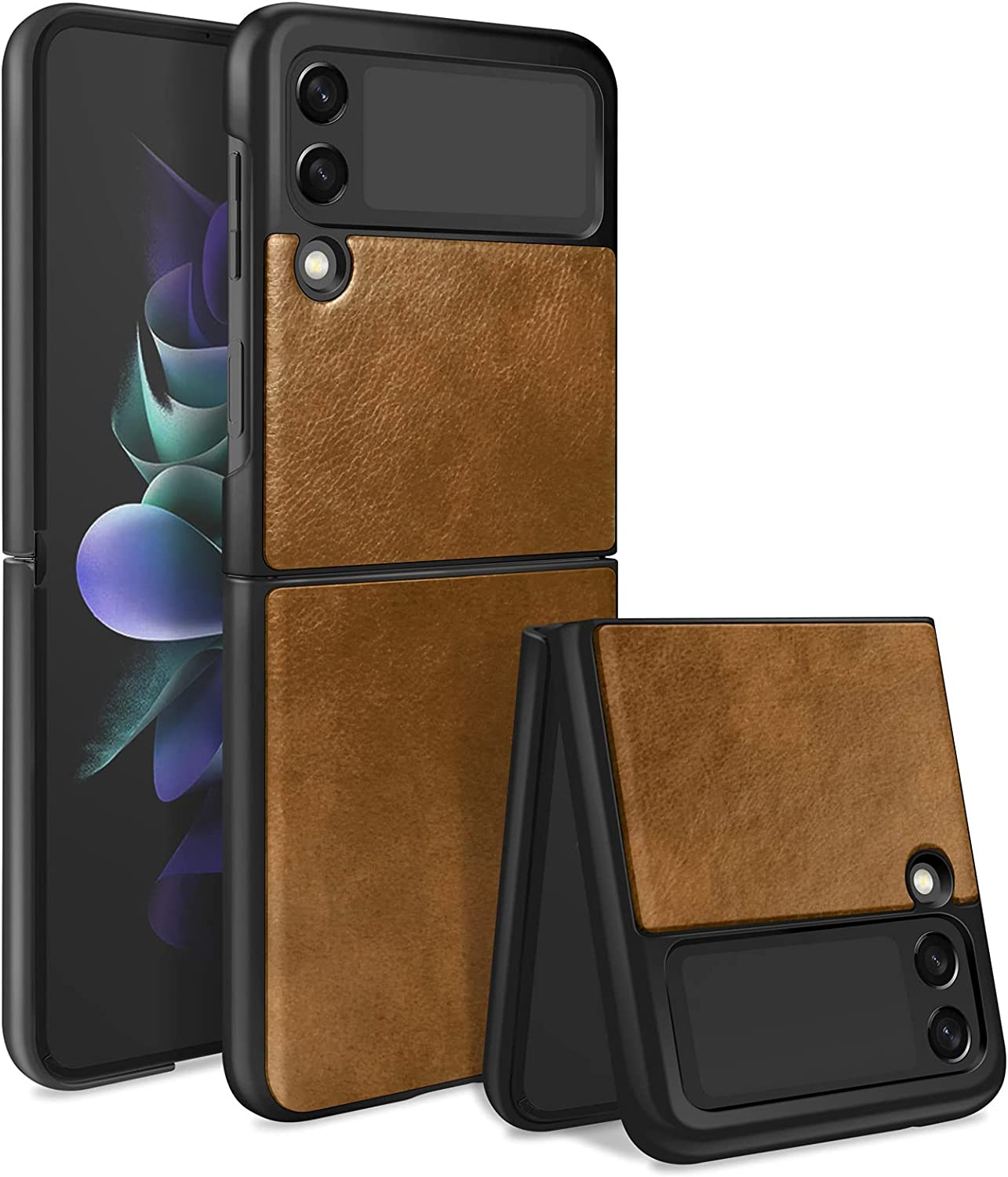 KSWOUS Case for Samsung Galaxy Z Flip 3 Case 5G Leather Hard PC Cover, Heavy Duty Shockproof Non-Slip Grip Protective Shell Stylish Cover Thin Fit Phone Case for Galaxy Z Flip 3 5G, Brown