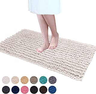 DEARTOWN Non-Slip Shaggy Bathroom Rug(27.5x47 Inches,White),Soft Microfibers Chenille Bath Mat with Water Absorbent, Machine Washable