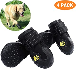 PG.KINWANG Dog Boots Waterproof Shoes for Medium to Large Dogs with Reflective Velcro Rugged Anti-Slip Sole Pet Paw Protectors Labrador Husky Black 4 Pcs