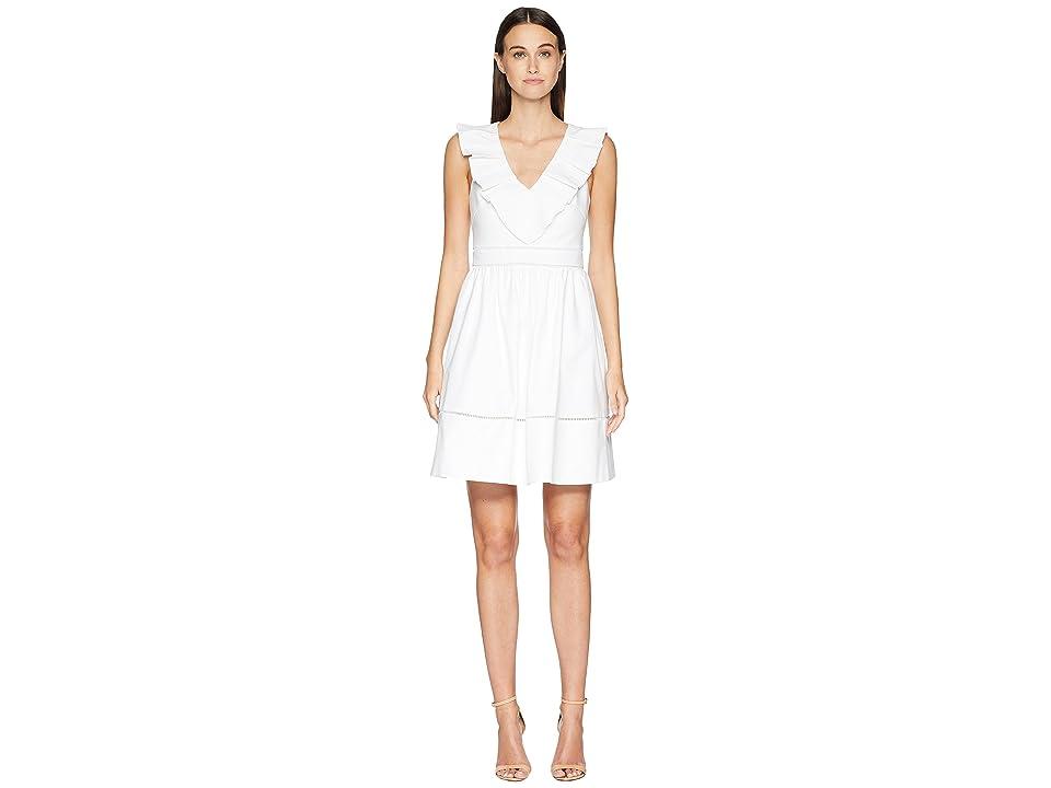 Kate Spade New York Ruffle Neck Dress (Fresh White) Women