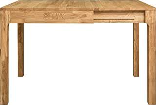NORDICSTORY Marsi Mesa de Comedor Extensible Libro 85-125 cm de Madera Maciza Roble Ideal para Cocina Salon Terraza Mueb...