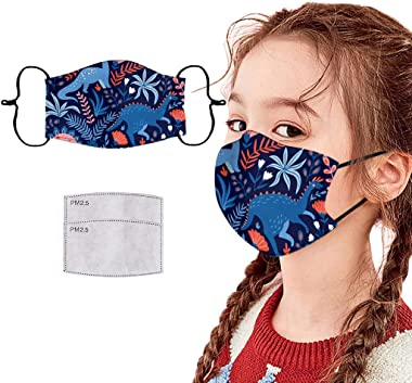 Youdw 1PC Children's Cute Cool Thin Type Face Bandanas +2 Sheets, Wshable Reusable Ear Loop Cloth for Outdoor Cycling Sport,