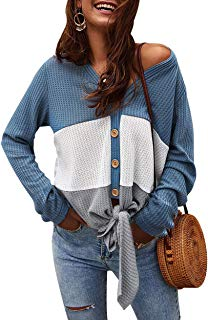 Women V Neck Knit Shirts Long Sleeve Tie Knot Colorblock Button Down Tops