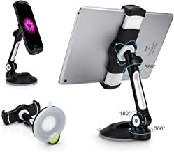 AboveTEK Suction Cup Cell Phone Holder, Large Sticky Pad Tablet Mount on Kitchen Desk Office Window Bathroom Mirror Car Windshield, Swivel Smartphone Tablet Stand 4-11