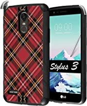 Capsule Case Compatible with LG Stylo 3, LG Stylo 3 Plus [Hybrid Dual Layer Supports Qi Wireless Charging Slim Defender Armor Combat Case Black] for LG Stylus 3 - (Plaid Red)