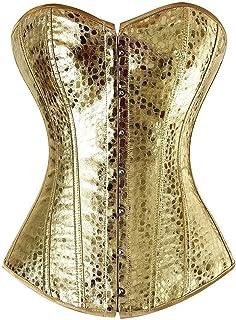 ملابس داخلية من الجلد الصناعي بسحاب فضي ذهبي ورباط علوي من الأعلى مقاس S-2XL (اللون: ذهبي، المقاس: إكس لارج)