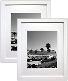 Golden State Art Set of 2, 11x14 White Picture Frame - Matted for 8x10 Photos - Wood Framing - Wall Mounting - Landscape/Portrait - Great for Family/Group Photos