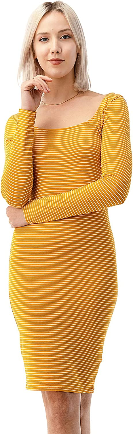 CULTURE CODE Women's Midi Dress - Casual Long Sleeve Slim Fitted Sexy Bodycon Striped Scoop Neck Stretch One Piece