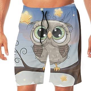 メンズ 水着 Cute Owl サーフパンツ オシャレ スウェット 通気 速乾 メッシュインナー 海パン 水陸両用 温泉 ジョギング 大きサイズ M~2XL