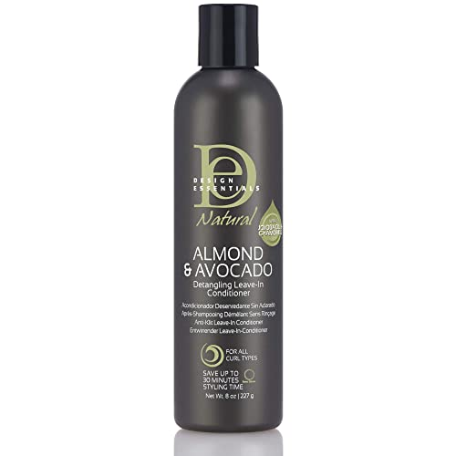 Design Essentials Natural Instant Detangling Leave-In Sulfate-Free Conditioner For Healthy, Moisturized, Luminous Frizz-Free Hair-Almond & Avocado Collection - 8 Ounce