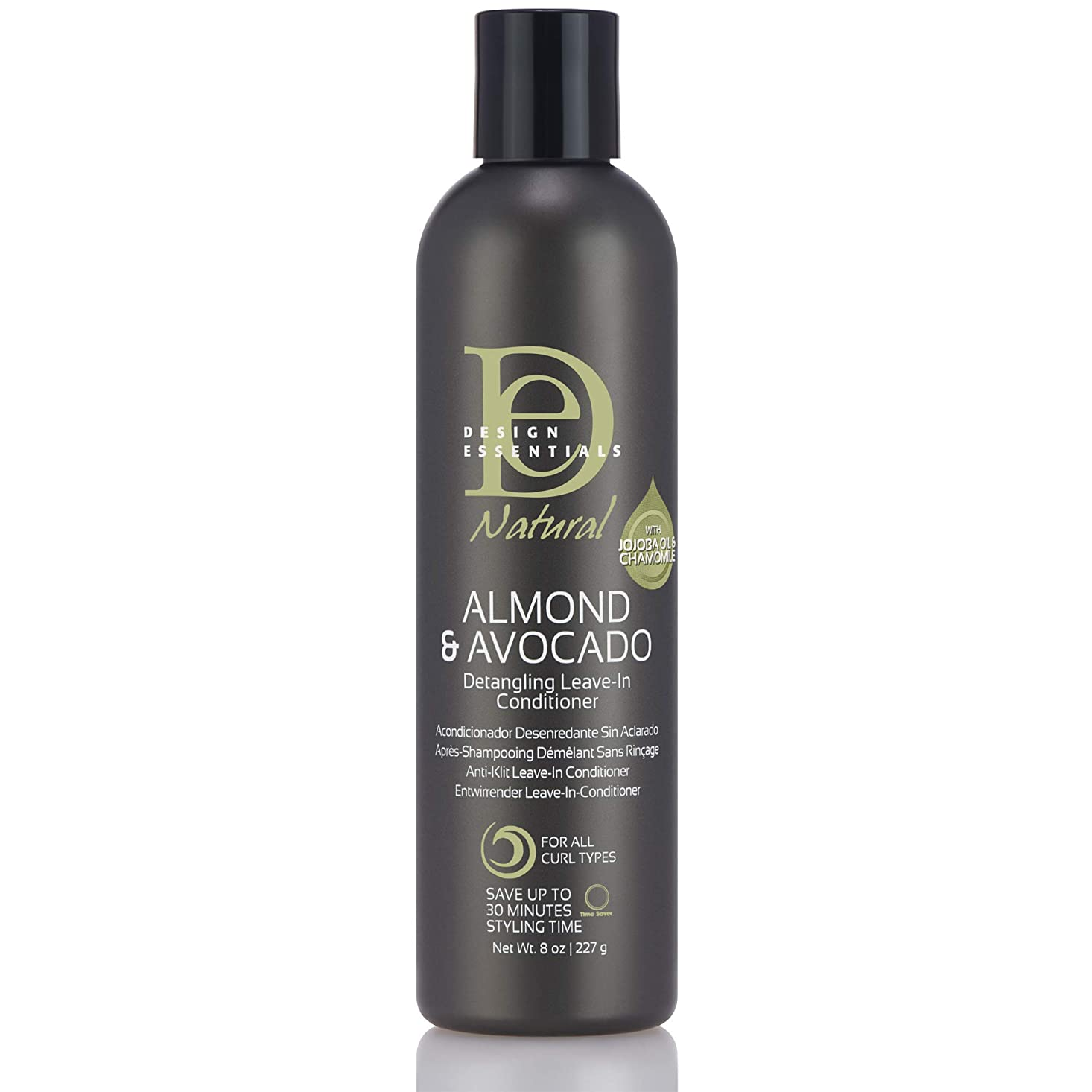 感情の工場酸Design Essentials Natural Instant Detangling Leave-In Conditioner for Healthy, Moisturized, Luminous Frizz-Free Hair-Almond & Avocado Collection, 8oz.