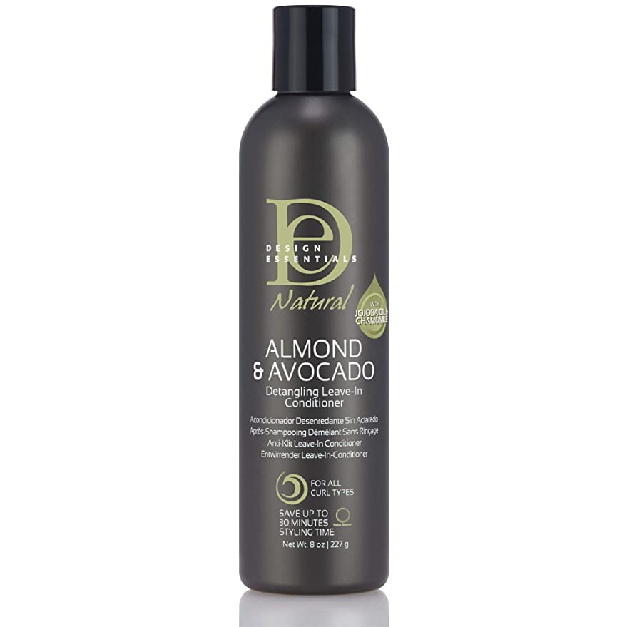 先史時代のモス慣性Design Essentials Natural Instant Detangling Leave-In Conditioner for Healthy, Moisturized, Luminous Frizz-Free Hair-Almond & Avocado Collection, 8oz.