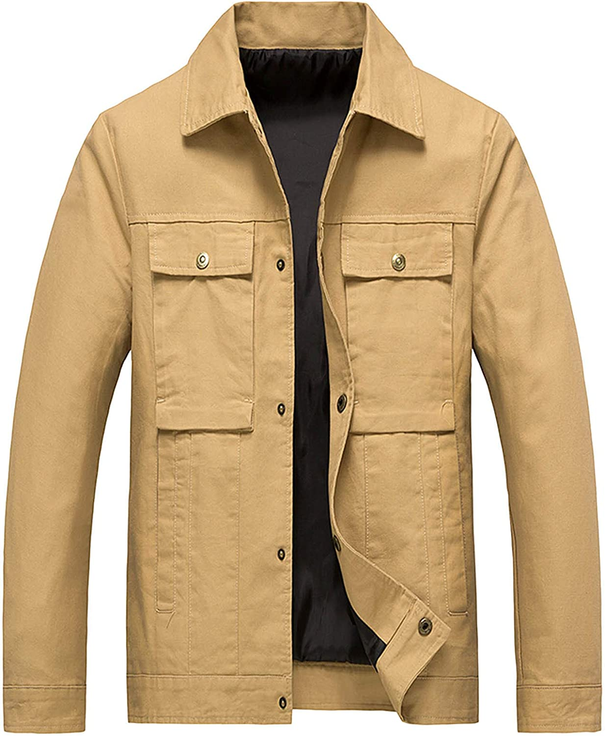 Men's Straight Trench Jacket Windproof Pea Coat with Pockets Solid Color Casual Coats Button Down Jacket
