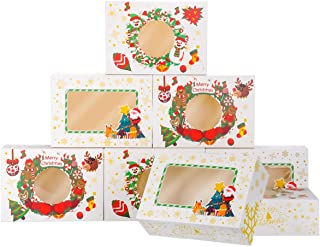 NPLUX 24 Pack Christmas Cookie Boxes with Window Christmas Treat Boxes for Gift Giving and Party Cookie Exchange(White)