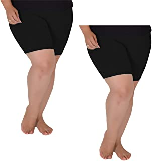 Stretch is Comfort Women's Pack of 2 Cotton Plus Size Bike Shorts